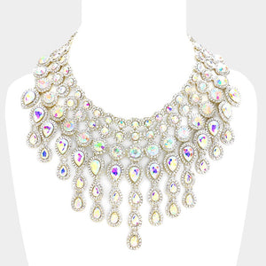 AB Teardrop Crystal Fringe Necklace