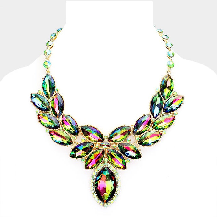 Multi Crystal Oval Leaf Evening Collar Necklace
