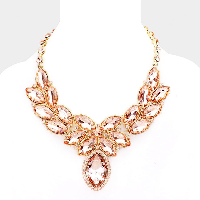 Peach Crystal Oval Leaf Evening Collar Necklace