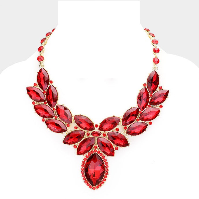 Ruby Red Crystal Oval Leaf Evening Collar Necklace