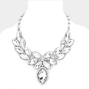 Crystal Oval Leaf Evening Collar Necklace