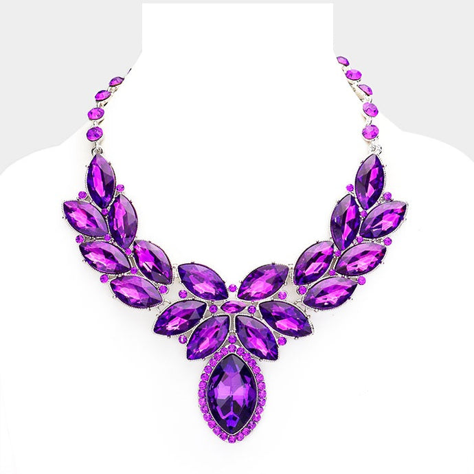 Purple Crystal Oval Leaf Evening Collar Necklace