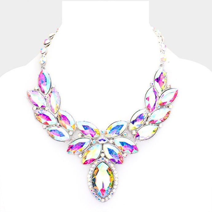 AB Crystal Oval Leaf Evening Collar Necklace
