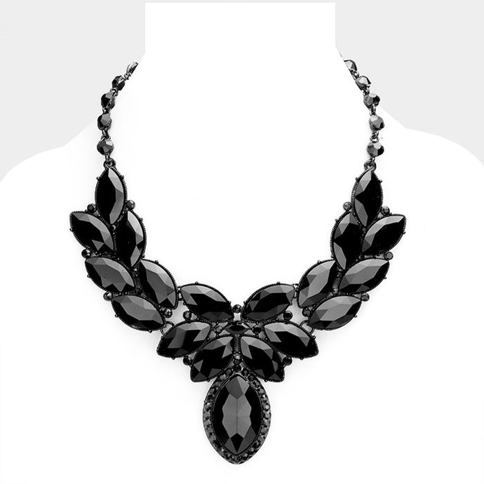 Black Crystal Oval Leaf Evening Collar Necklace