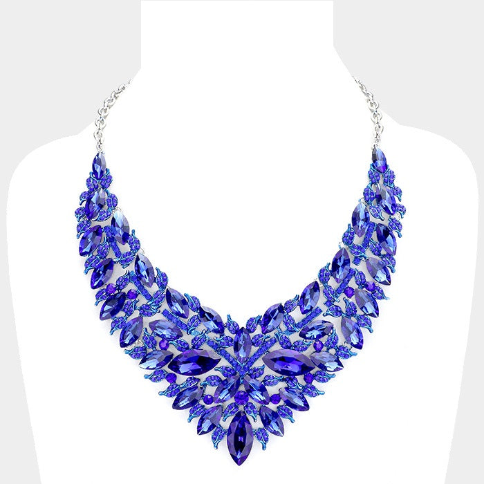 Blue Oval Leaf Necklace