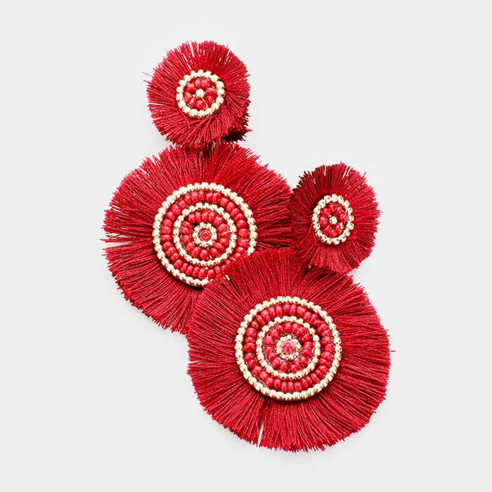 Red Tassel Disc Earrings
