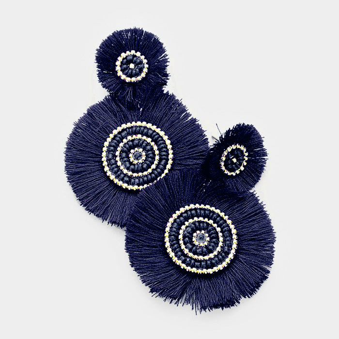 Navy Tassel Disc Earrings