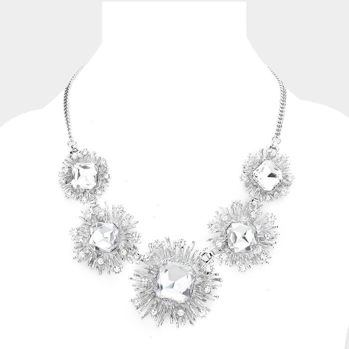 Silver Crystal Bib Necklace