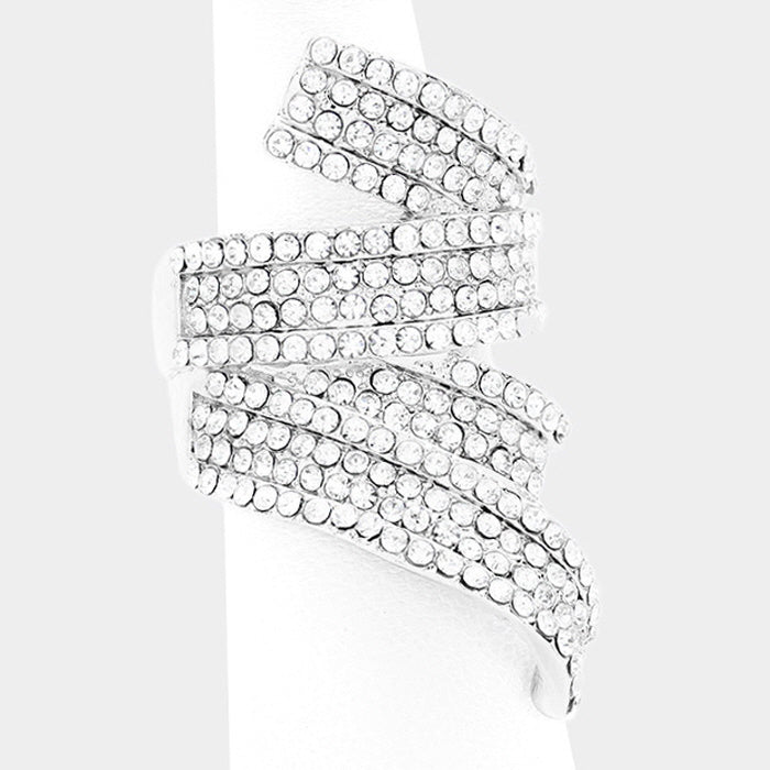 Silver Pave Stretch Ring
