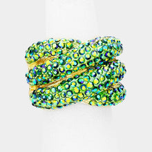 Load image into Gallery viewer, Green AB Crystal Crisscross Ring