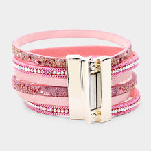 Load image into Gallery viewer, Pink Multi Strand Magnetic Bracelet