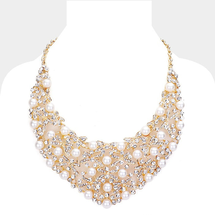 Pearl Crystal Bib Necklace