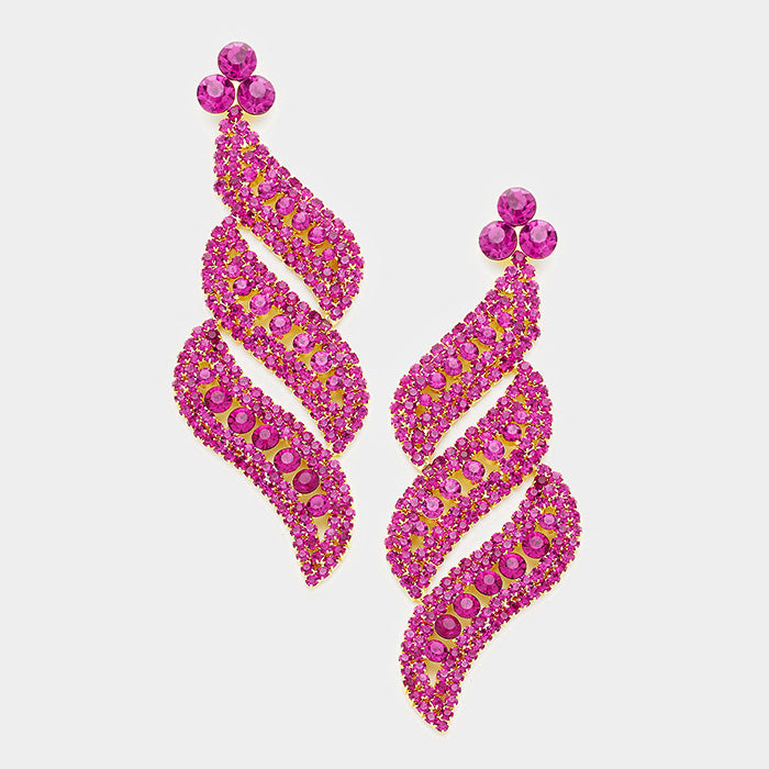 Fuchsia Pave Crystal Evening Earrings