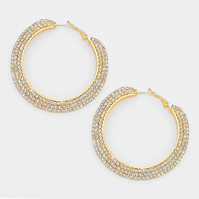 Gold 3-Row Crystal Hoop Earrings