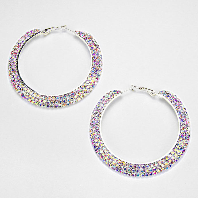 AB 3-Row Crystal Hoop Earrings