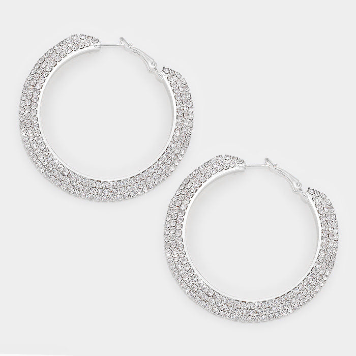 Silver 3-Row Crystal Hoop Earrings