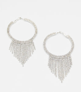 Rhinestone Fringe Hoop Earrings