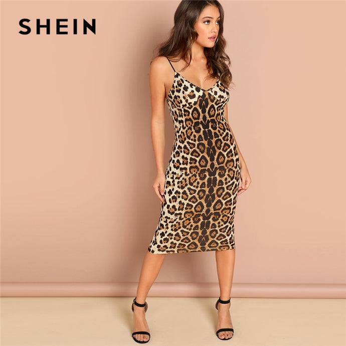 Backless Leopard Print Cami Sleeveless Pencil Skinny Club Dress Autumn Night Out Women Dresses