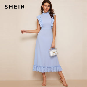 Mock-Neck Ruffle Trim Fit And Flare Dress Blue Pastel Stand Collar Women Dresses Spring Summer Sleeveless Solid Dresses