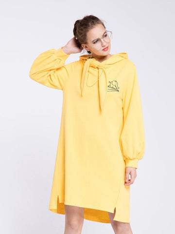 Yellow Hoodie Dress