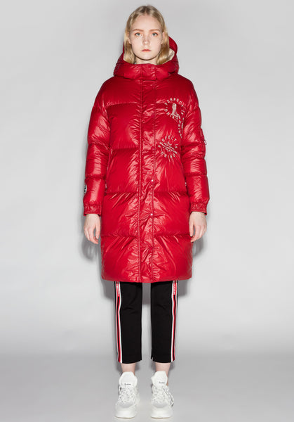Shiny Red Quilted Longline Goose Down Jacket