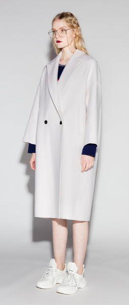 White Wool Double Breasted Coat