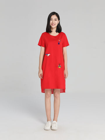 Red Embroidered T-Shirt Dress