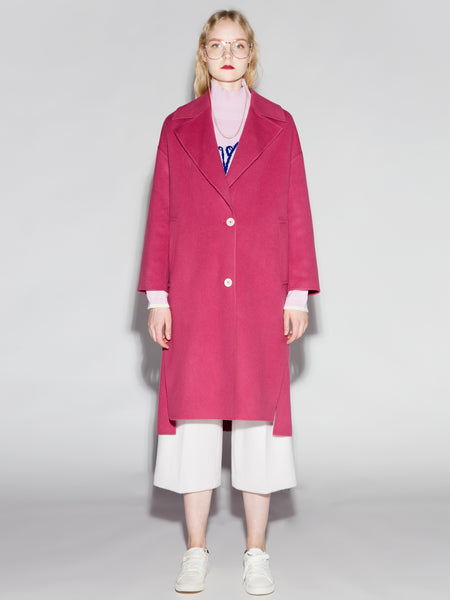 Fuschia Uneven Hem Wool Coat