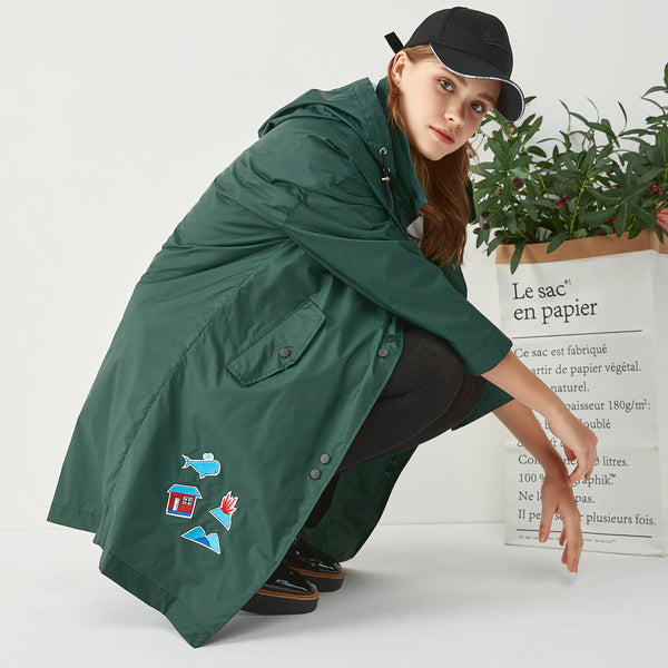 Dark Green Embroidered Hooded Rain Coat