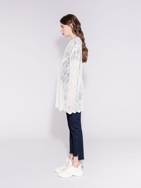 White Knitted Blouse