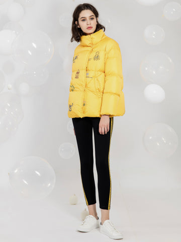 Yellow Quilted Embroidered Down Jacket