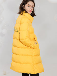 Yellow Quilted Embroidered Longline Down Jacket