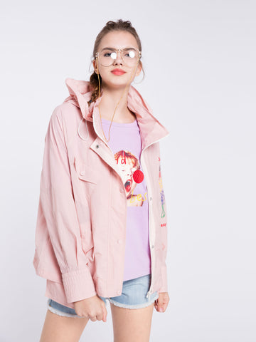 Pink Hooded Sports Jacket