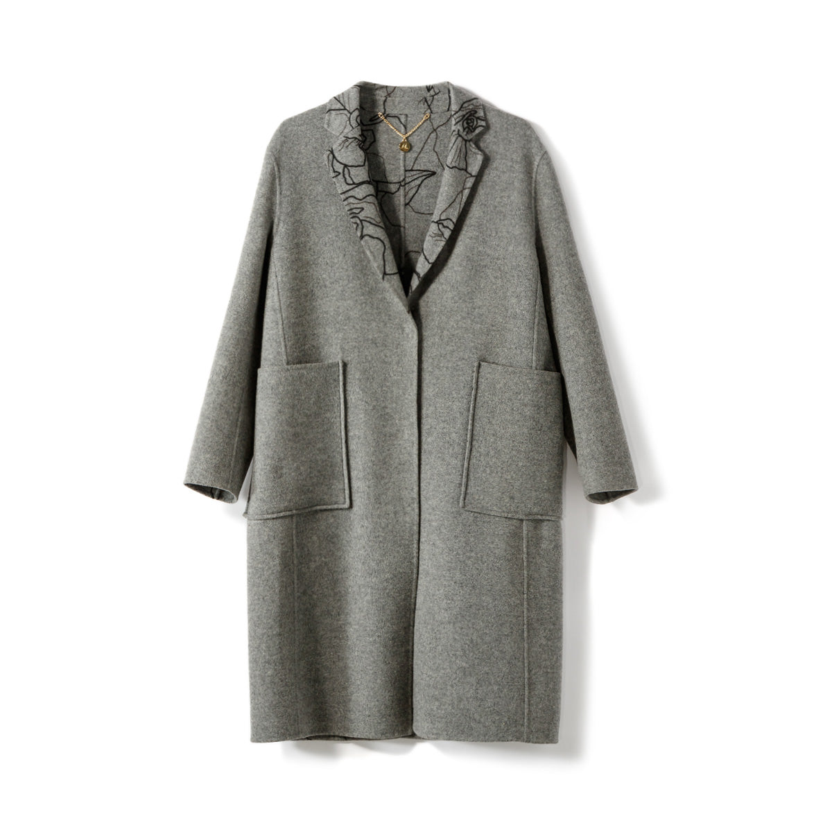 Grey Reversible Floral Abstract Print Wool Coat