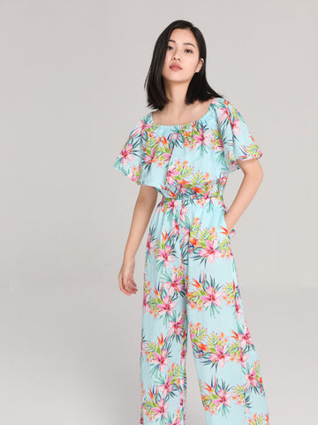 Light Blue Floral Jumpsuit