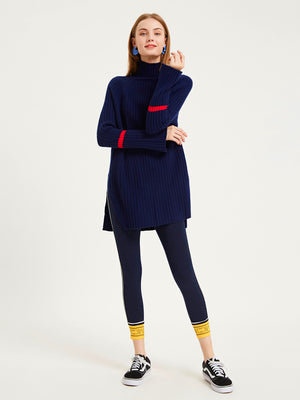 Deep Navy Ribbed Turtleneck Wool Sweater