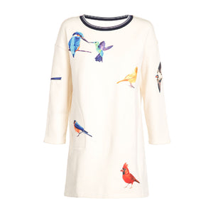 White Crewneck Wool Knitted Bird Dress