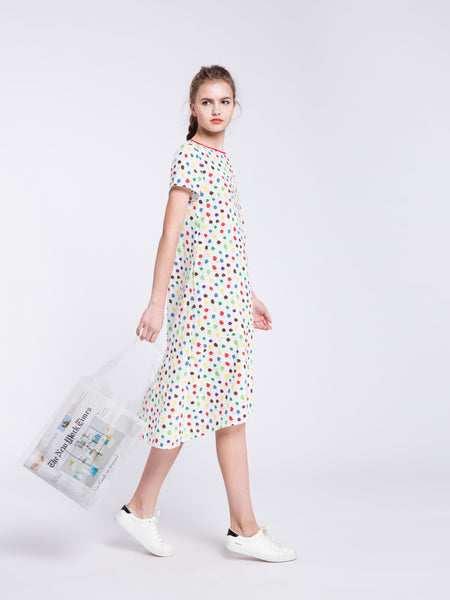 White Multicolored Dots T-Shirt Dress