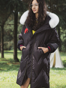Black Hooded Fur Edging Long Down Jacket