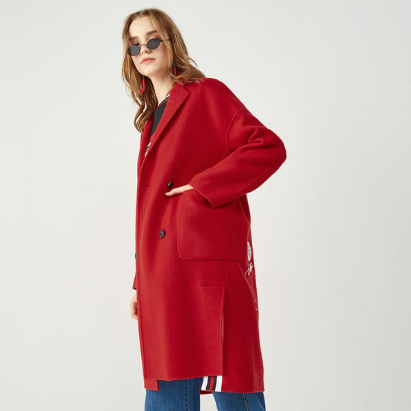 Red Embroidered Side Slit Double Breasted Wool Coat