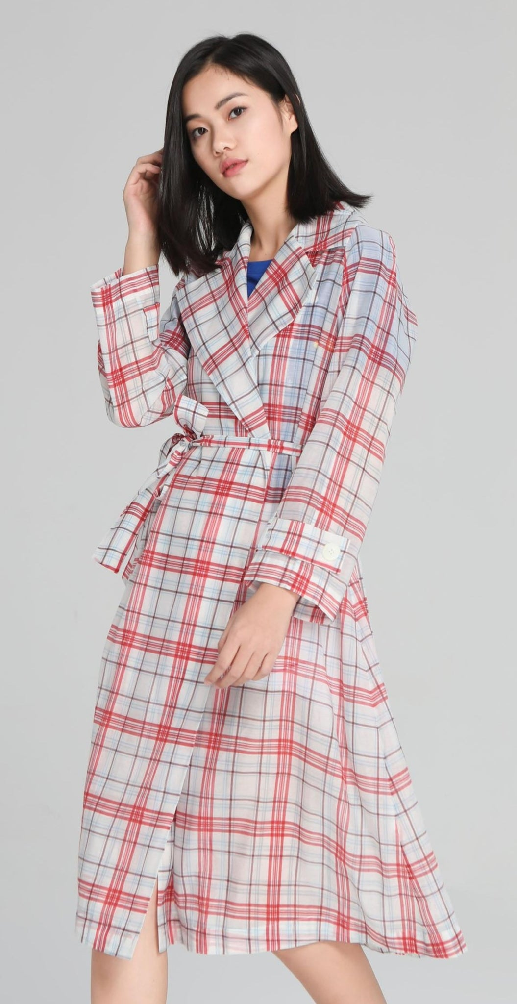 Red Plaid Trench Coat