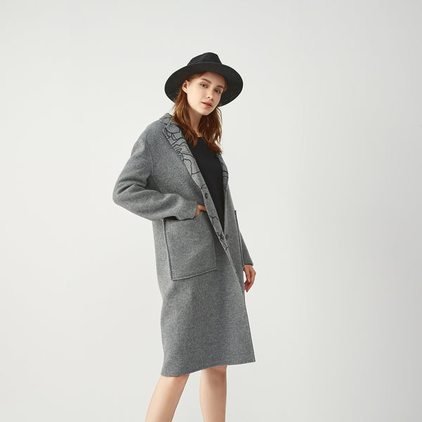 Grey Wool Reversible Floral Abstract Print Coat