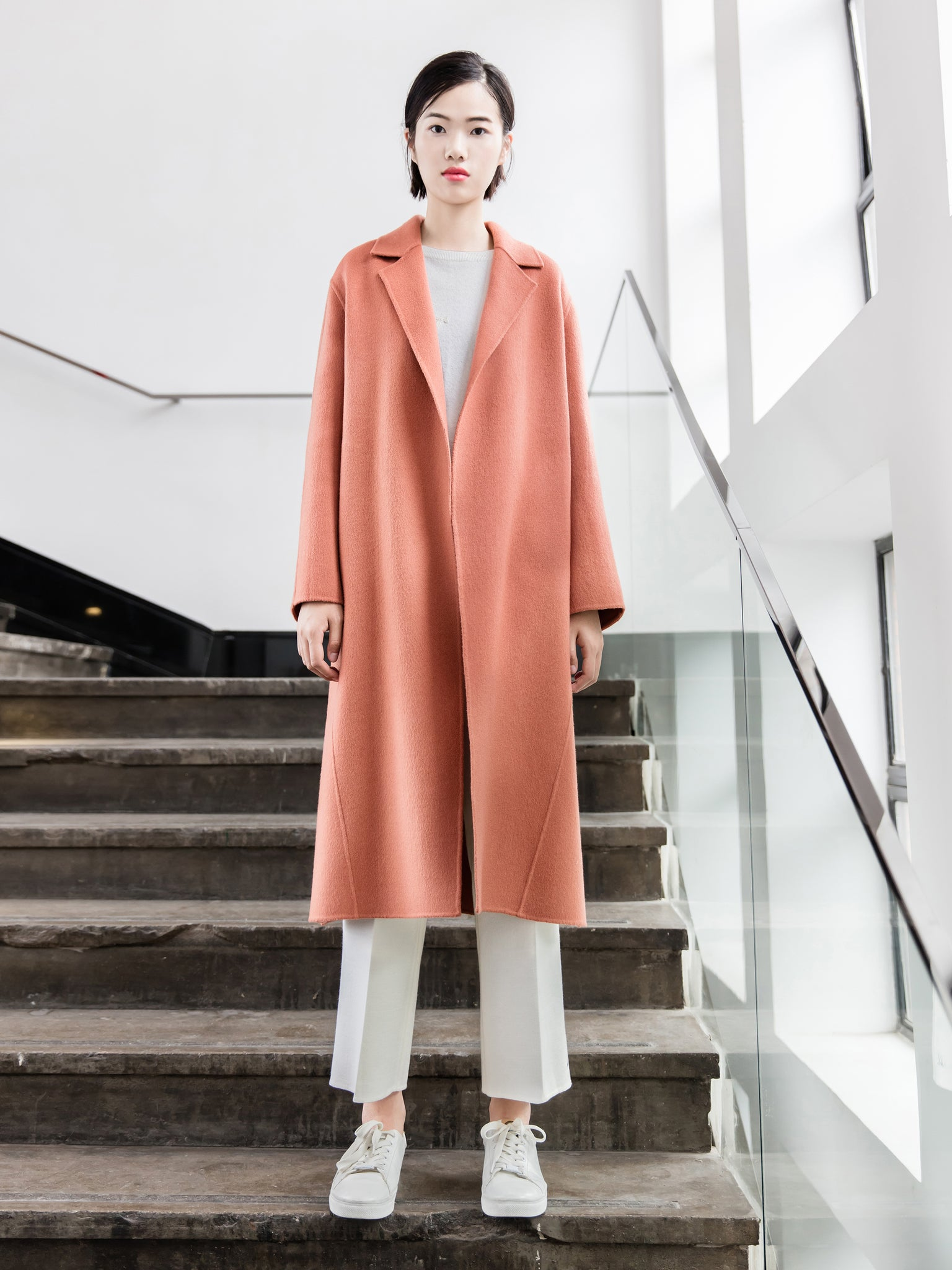 Pink Wool Long Duster Pea Coat