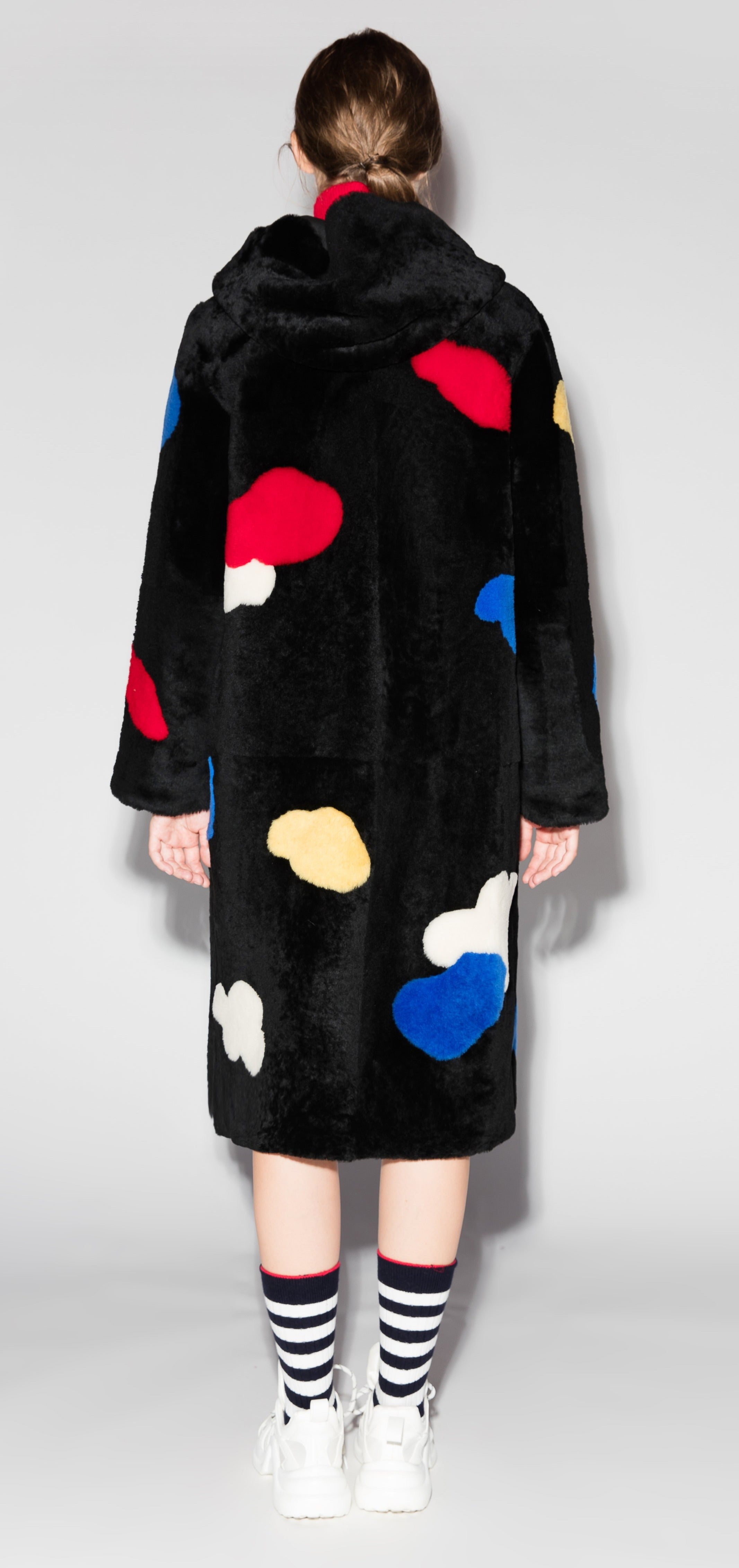 Black Fleece Dotted Duster Wool Coat