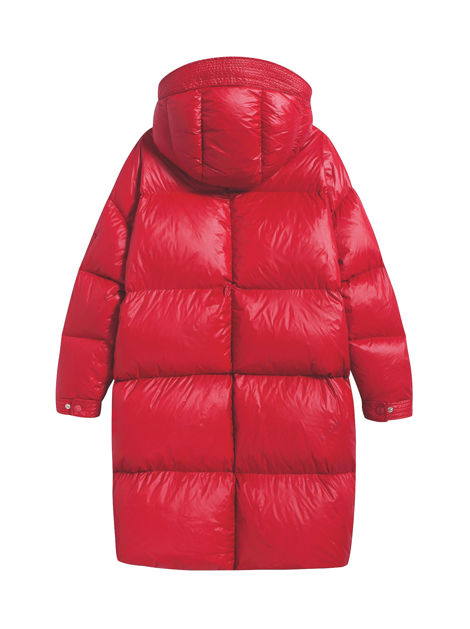 Glossy Red Quilted Goose Down Hooded Long Puffer Coat