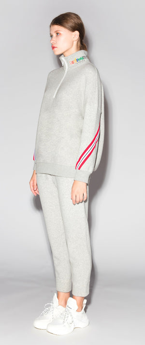 Grey Cropped Lounge Track Pants