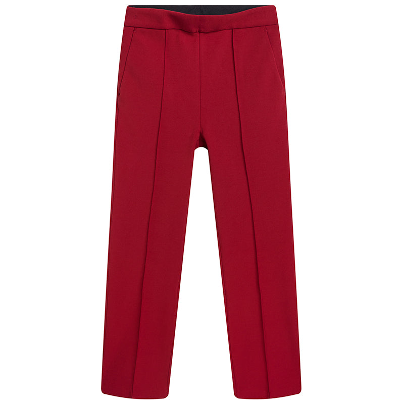 Red Flared Ankle Length Pants