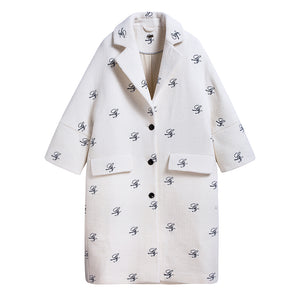 White LAN Logo Embroidery Wool Coat