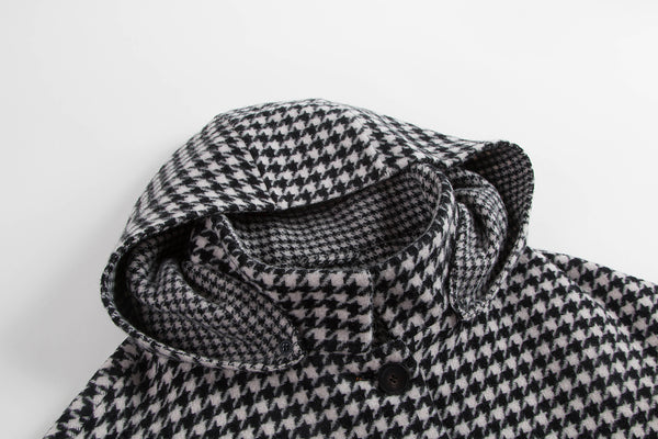 Houndstooth Hooded Wool Coat