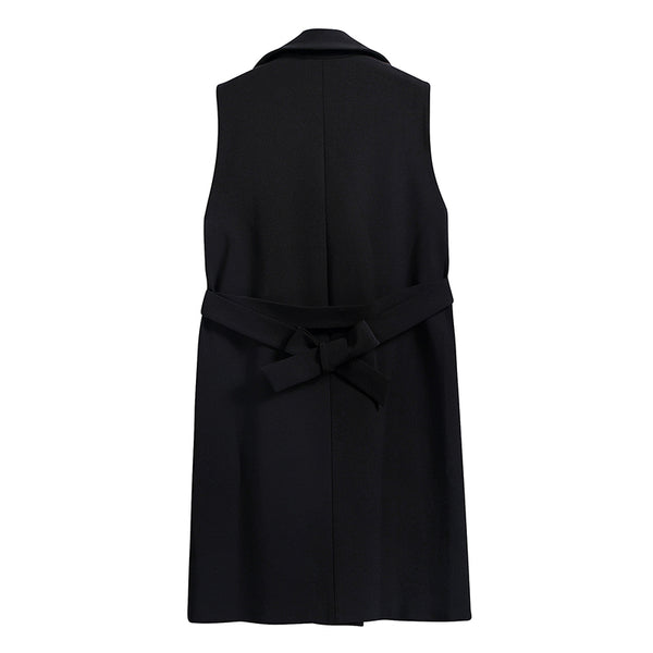 Black Long Vest with Belt